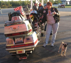 Travelling in style! Illinois State Police officer with her Goldwing and dog