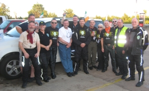 Waiting for the sun to go down, outside Oklahoma City, with some of the support team
