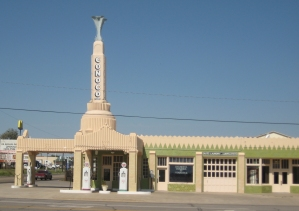 The restored Conoco Tower in Shamrock TX