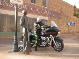Sitting on my bike on a corner in Winslow, Arizona!