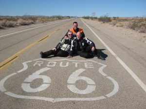 Gerry Barry, Tom Browne and myself on Route 66