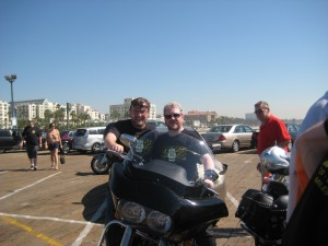 Joe and myself on Santa Monica pier with my crashed bike - you can't really see the damage!